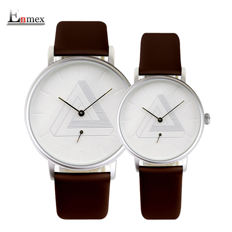 2016 Enmex creative design wristwatch Nordic design Separate second hand lovers couple watch simple Fashion quartz