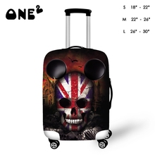 ONE2  Halloween Gift with Hand Drawing Skull Design Luggage Covers with Various Design Elastic Suitcase Cover