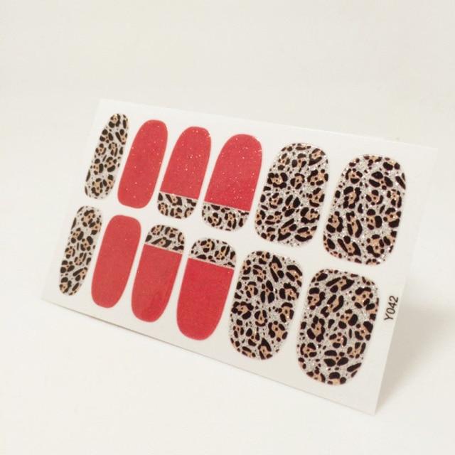 leopard adhesive nail wrap art paper template nails sheet patch foil