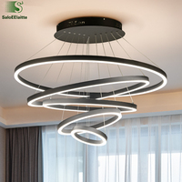 Modern Minimalism Black Aluminium Acrylic Ring Led Chandelier Remote Control Dimmable luminaria Led Pendant Chandelier For Foyer