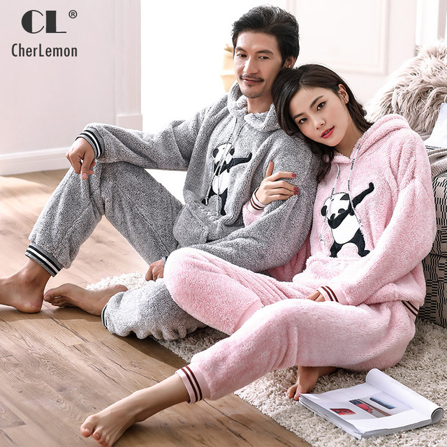 49ba8873e CherLemon Casual Hooded Men's Grey Soft Plush Coral Fleece Pajamas Cute  Cartoon Panda Women Pyjama Winter Warm Couples Homewear