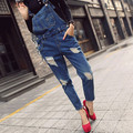Fashion Woman Sexy Autumn-Summer Overalls Blue Strap Ripped Pockets Denim Jumpsuits Rompers For Women New Hot Sale Bodysuits