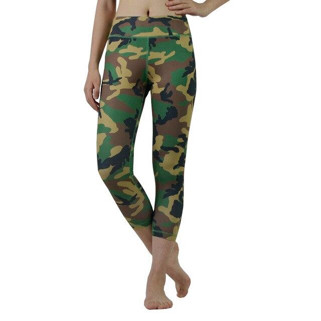 c437b5d9e26d16 Green Camo crop capris compression pants women's yoga tight pants marathon  running high stretch fast dry leggings activewear
