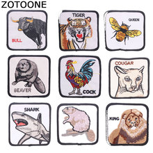 ZOTOONE Animal Lion Tiger Patches Diy Stickers Iron on Clothes Heat Transfer Applique Embroidered Applications Cloth Fabric G