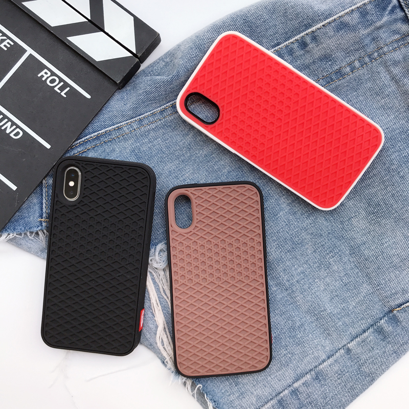 New Street Trend Waffle Brand Soft Silicon Cover case for iPhone 5 5S SE 6 6S Plus 7 7plus 8 8plus X Grid Pattern Phone Cases,Brown,for iPhone 8