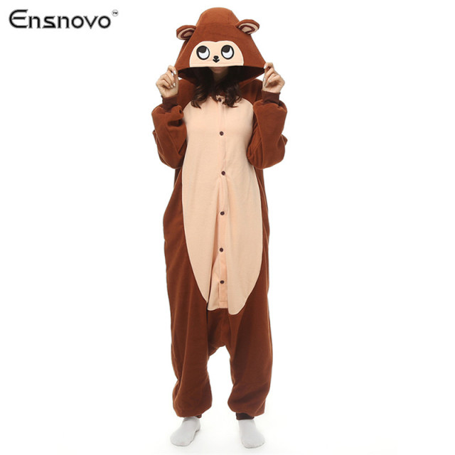 Ensnovo Women  Adult Pajamas Costumes  Full Body Cute Cartoon Animals Winter Warm Sleepwear Pijamas Enteros Animal fleece Onesie
