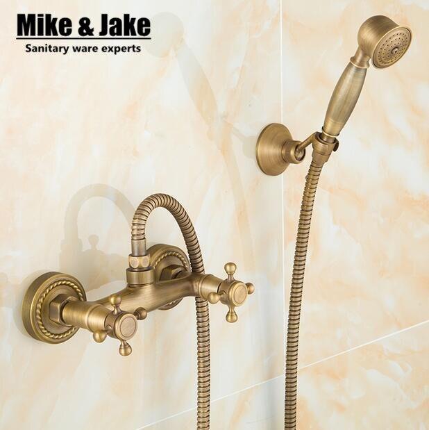 Bathroom Antique brass shower mixer set vintage style bath shower ...
