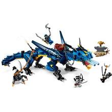 цена на NINJAGO Action Figures Flying Stormbringer Blue Lightning Dragon legos compatible Model Building Blocks Bricks toy kids gift