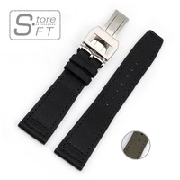 Özel Tasarım Tuval Hakiki Deri Watchband Siyah Ordu Yeşil Dağıtım Toka saat kayışı 20mm 21mm 22mm Saat Kayışı