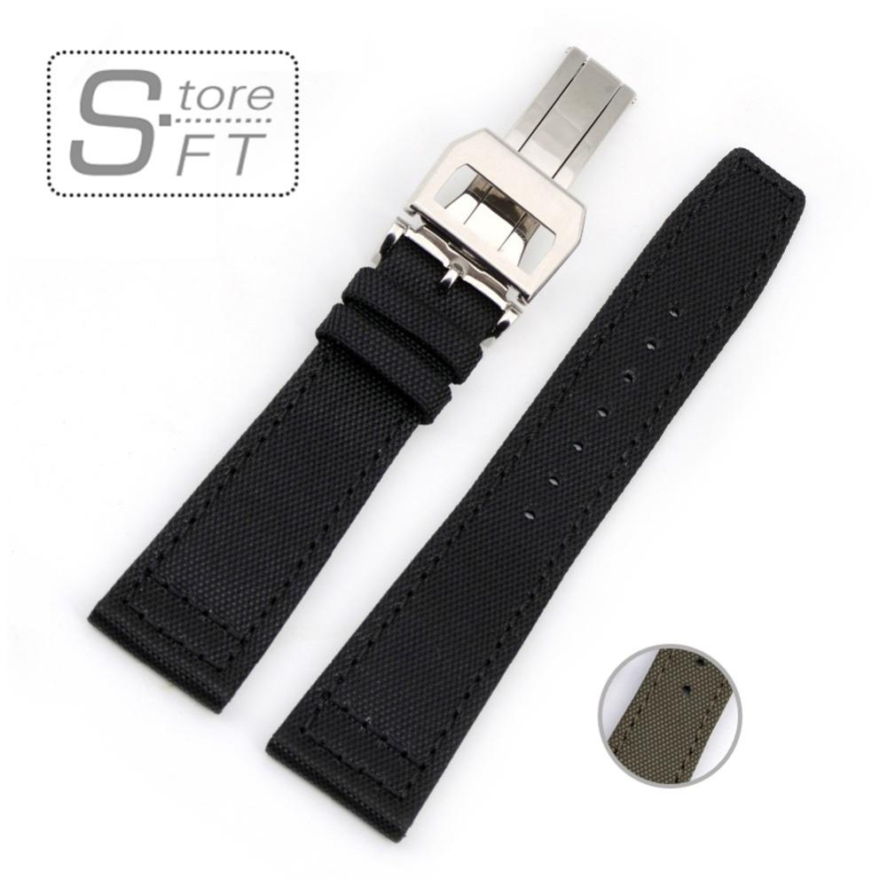 Prix pour Conception spéciale Toile Véritable Bracelet En Cuir Noir Armée Vert Avec Boucle Déployante Bracelet 20mm 21mm 22mm bracelets