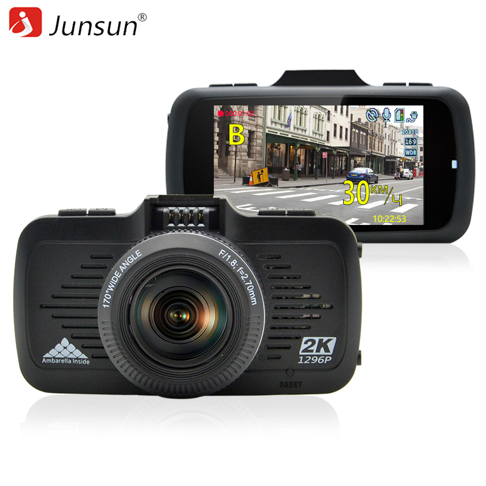 Junsun A799 Car DVR Camera GPS 2 in 1 Ambarella A7LA50 with Speedcam Super Full HD 1296P Dash Cam Video Recorder Blackbox dealcoo car dvr ambarella a7l50 car video recorder dash cam full hd 1296p 30fps 2 7 lcd g sensor hdr h 264 car camera gps gs90a