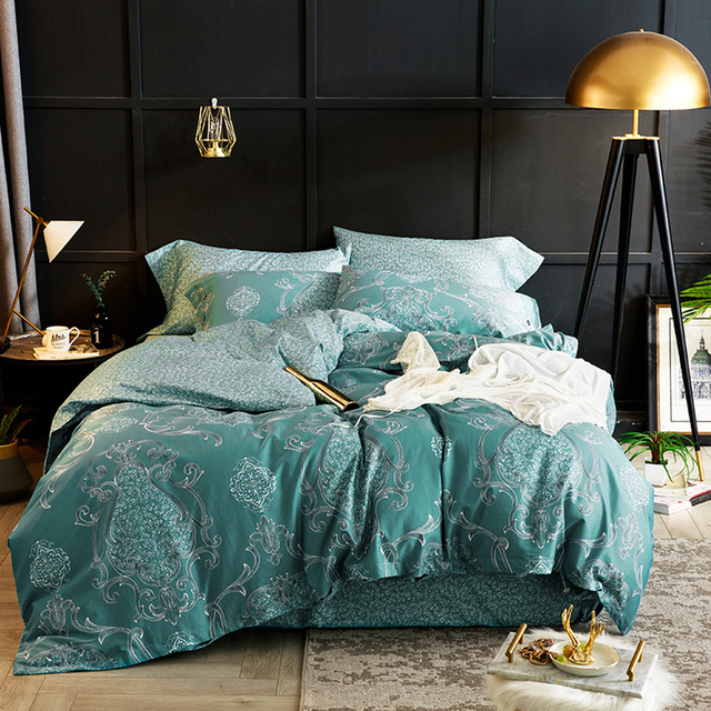 2018 Fashion Dark Green Bohemian Bedding Set Soft Egyptian Cotton Duvet Cover Set Queen King Bedlinens Sheet Pillowcases