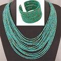 Perlas africanas Sistemas de la Joyería de Bohemia de Acrílico Del Grano Collares Brazaletes Declaración de Moda Las Mujeres Collar de Múltiples Capas Del Nuevo Sistema de La Joyería