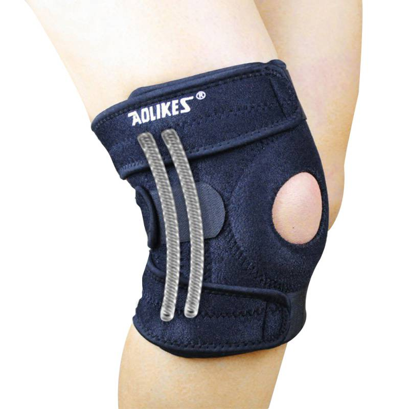 AOLIKES Mountaineering 1 Piece Knee Pad With 4 Springs Support Cycling Knee Protector Mountain Bike Sports Safety kneepad Brace