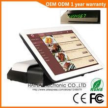 Haina Touch 15 pulgadas RFID pantalla táctil Pos máquina Terminal con pantalla del cliente