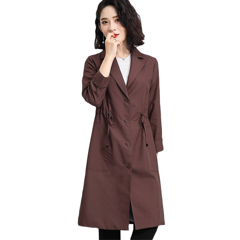 Plus size Women Casual   Trench   coat New Spring Autumn Long Windbreaker coats Womens Korean Single-breasted Outerwear 4XL A1147