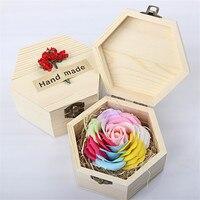 פרח סבון רוז רומנטי בעבודת יד נצחי חתונת תיבת עץ/קישוט בית פרחים מלאכותיים של אמא של יום ולנטיין מתנה