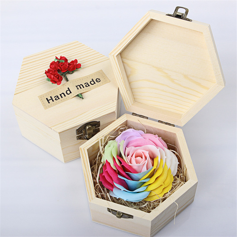Handmade romantic rose eternal soap flower wooden box for Application box decoration