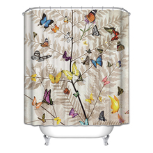 Hot Sale Bicycle Shower Curtain Butterfly Tree Cage Birds Fan Bathroom Curtains 6 Styles New Arrival