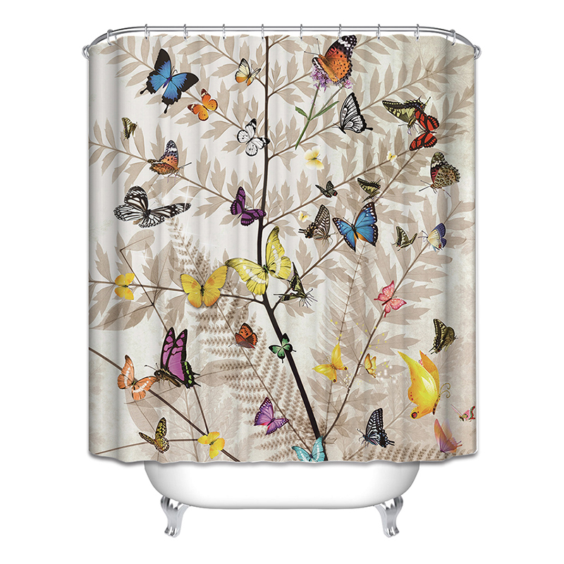 Hot Bicycle Shower Curtain Butterfly Tree Cage Birds Fan Bathroom Curtains 6 styles New Style