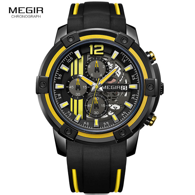 Megir Men's Black Silicone Strap Quartz Watches Chronograph Sports Wristwatch for Man 3atm Waterproof Luminous Hands 2097 Yellow 3