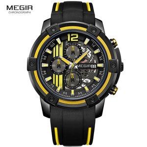 Image 3 - Megir мужские черные кварцевые часы с силиконовым ремешком, спортивные наручные часы с хронографом для мужчин 3 АТМ, водонепроницаемые светящиеся стрелки 2097 желтого цвета