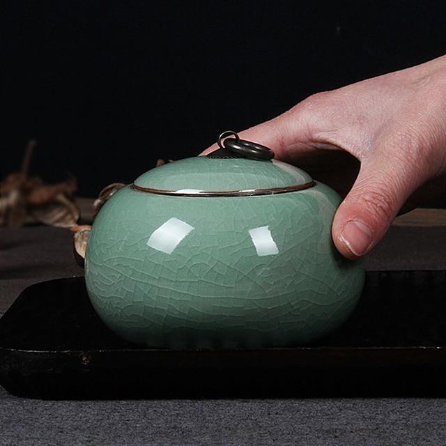 4 ColorsTop Grade Crackle Glaze Yixing Zisha Ceramics Art 150ml Capacity Eco-Friendly Tea Caddy Tea Canister Tea Porcelain Jar