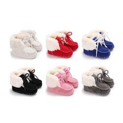 Детские зимние сапоги унисекс для новорожденных зимние теплые Нескользящие ботиночки из искусственной замши первые ходунки обувь