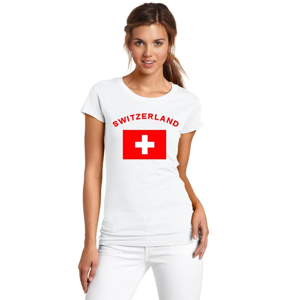 BLWHSA Yaz Avropa Qadınları İsveçrə Tərəfdarlar Cheer T-Shirts - Qadın geyimi - Fotoqrafiya 2