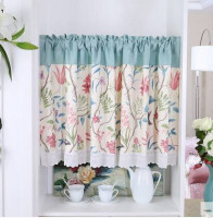 American Natural Flower Butterfly Half Curtain Kitchen Cabinet Head Green