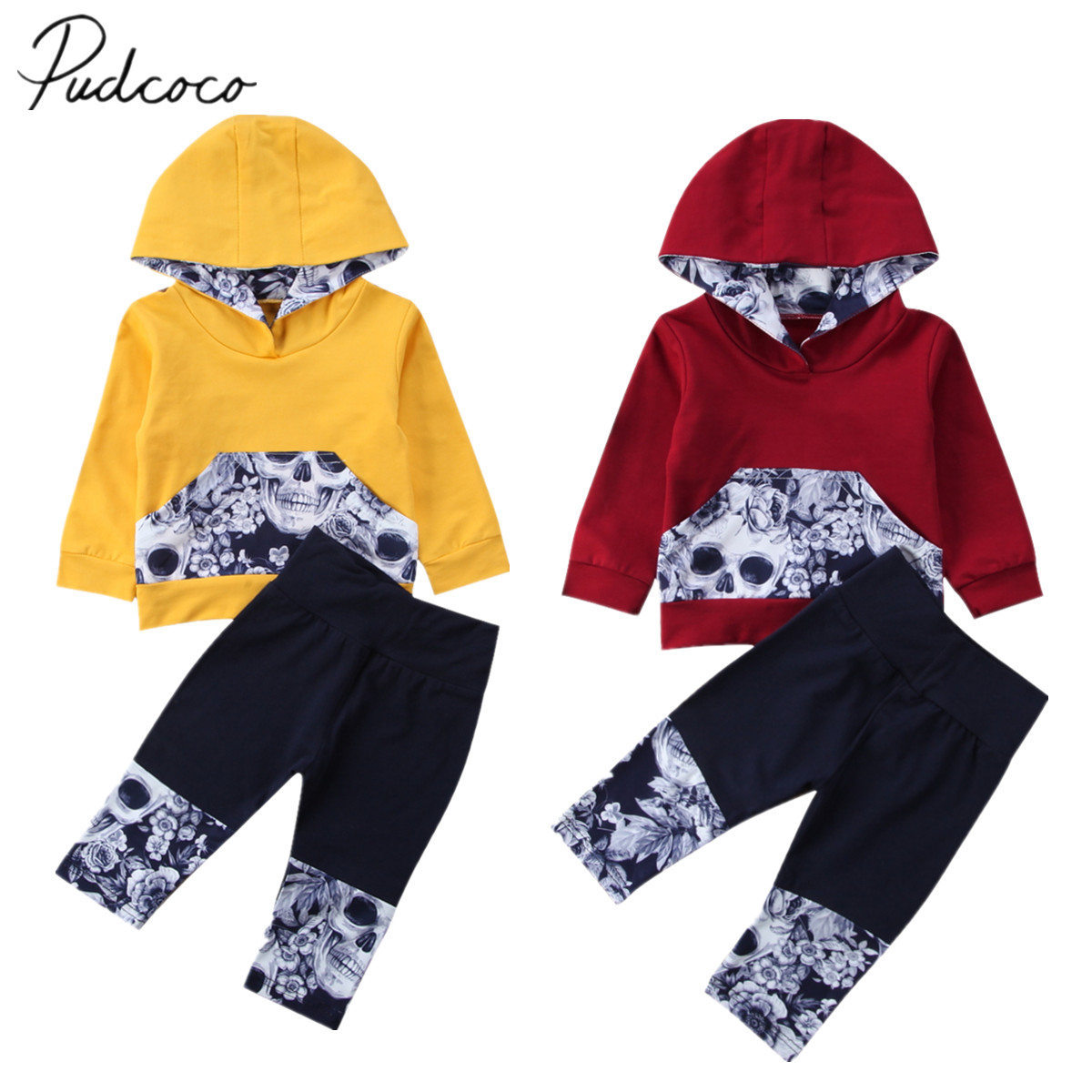 2017 Brand New 2pcs Newborn Toddler Infant Baby Boys Girls Skull Floral Hooded Sweater Top Pants Outfits Set Spring Fall Clothes