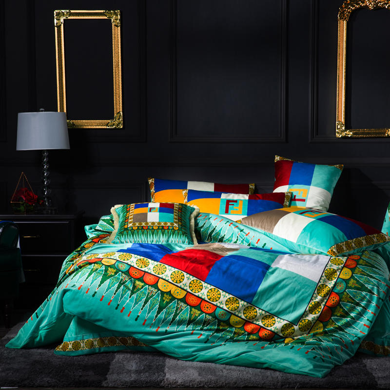 FAMVOTAR Luxury Bedding Set Colorful Plaid Geometric Cells Embroidery Duvet Cover Bed Set Flat Bed Sheet King Queen Size 4Pcs