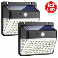1 Pack 82 LEDs Solar Lights Outdoor Solar Powered Motion Sensor Lights Waterproof Wall Light Wireless Security Night Light