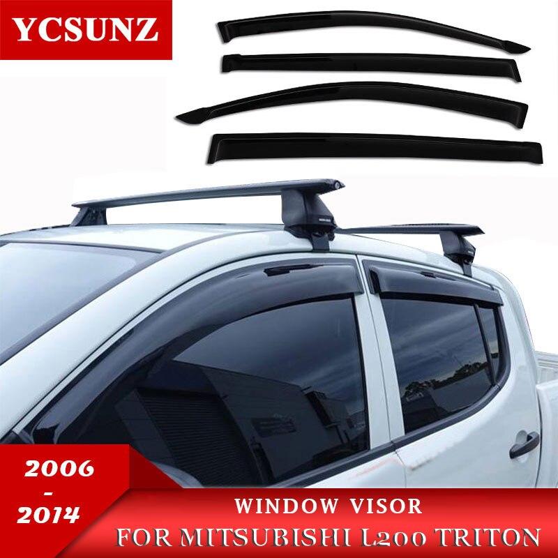 ฝนหน้าต่าง Visor Deflector สำหรับ MITSUBISHI L200 Triton 2006 2007 2008 2009 2010 2012 2013 2014 คู่ Cabin