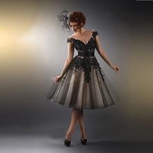 Heißer Verkauf New Fashion Black Appliques Kurze A Line Abendkleid Knielangen Maß Formale Abendkleider