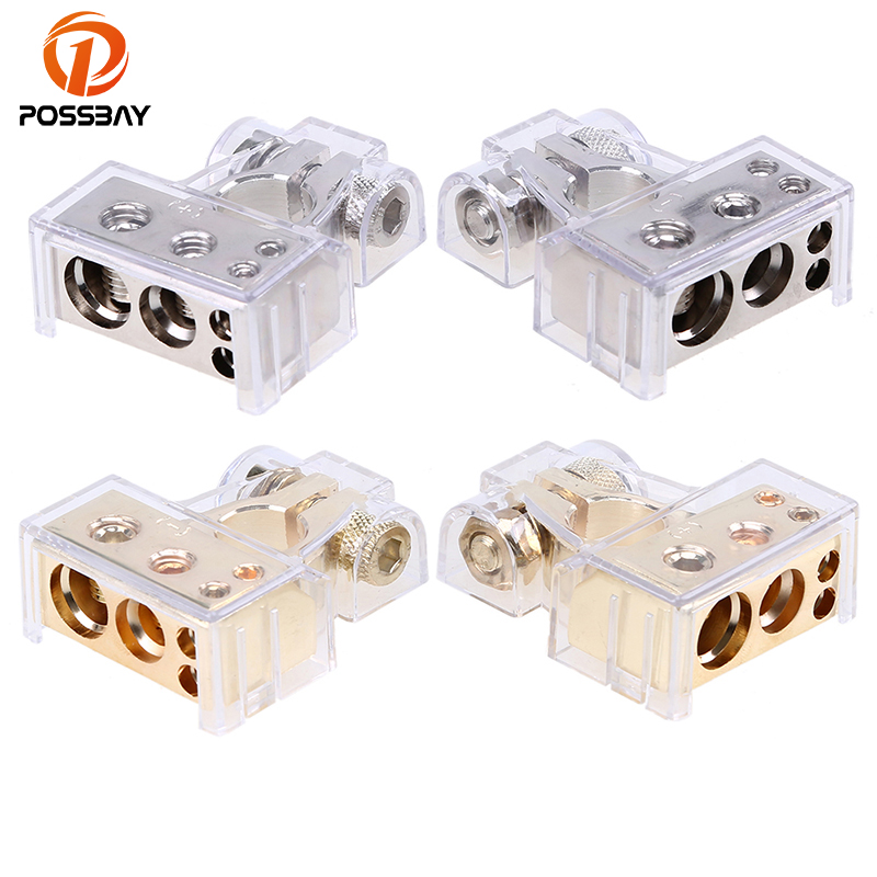 POSSBAY Universal Gold Auto Battery Terminal Clamp Post 0 4 8 Gauge AWG Connectors Quick Release Car Battery Terminal Connector