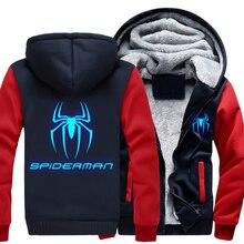 Brand US Plus Size Men Women Hoodies  Spider Man Thicken Hoodie Luminous Zipper Coat Clothing Jacket