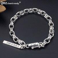 100% 925 Sterling Silver Vintage Buddhism Bracelets Women Men Fine Jewelry Solid Tibetan Silver Clasp Lock Chain Ch Bracelet