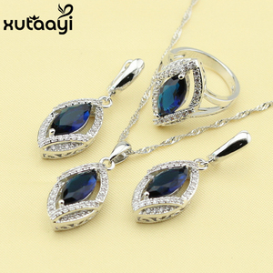 Alluring Imitated Green Stones White CZ,925 Silver Bridal Wedding Jewelry Set Earrings Necklace Pendant Rings Made In China