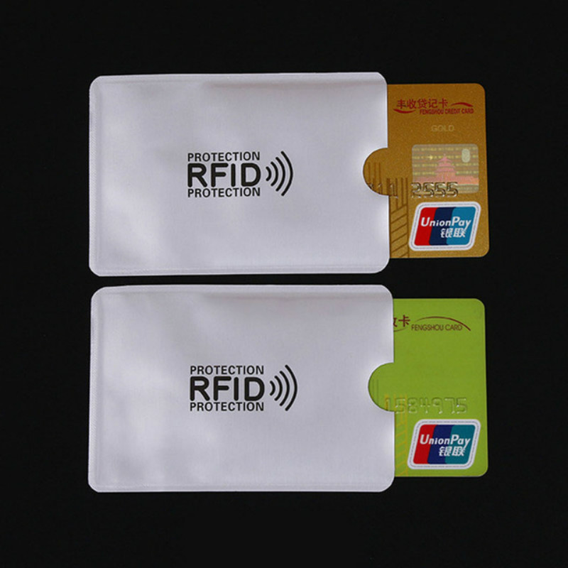 10 Pcs Anti-Scan Card Sleeve Credit RFID Card Protector Anti-magnetic Aluminum Foil Portable Bank Card Holder