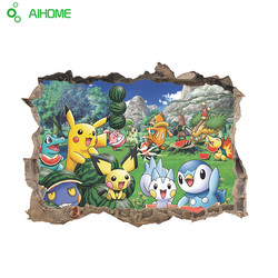 Pocket Monster Pokemon Go Pikachu Animal Zoo 3D Window Hole Home Decal Wall Sticker Kids Room Nursry Cartoon Game 60*45cm 1pcs