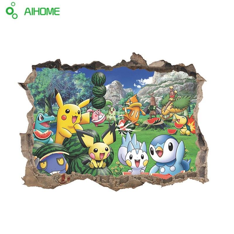 Pocket Monster Pokemon Go Pikachu Animal Zoo 3D Window Hole Home Decal Wall Sticker Kids Room Nursry Cartoon Game 60*45cm 1pcs