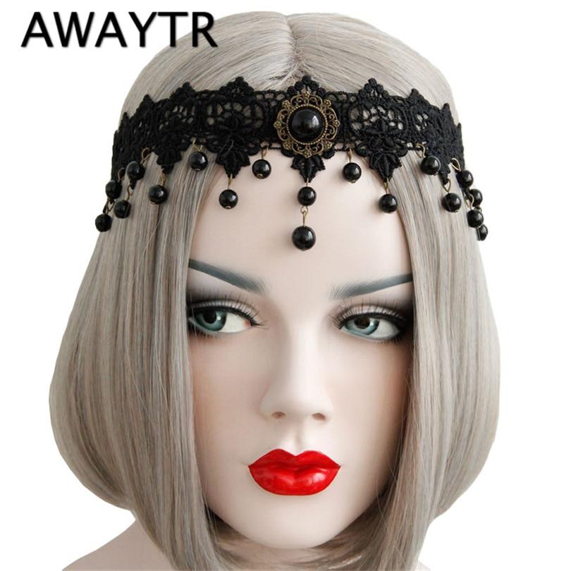 AWAYTR Women Elastic Headband Crown Black Flower Lace Chain Faux Pearl Drop Tassel Stone Halloween Party Bridal Hair bands