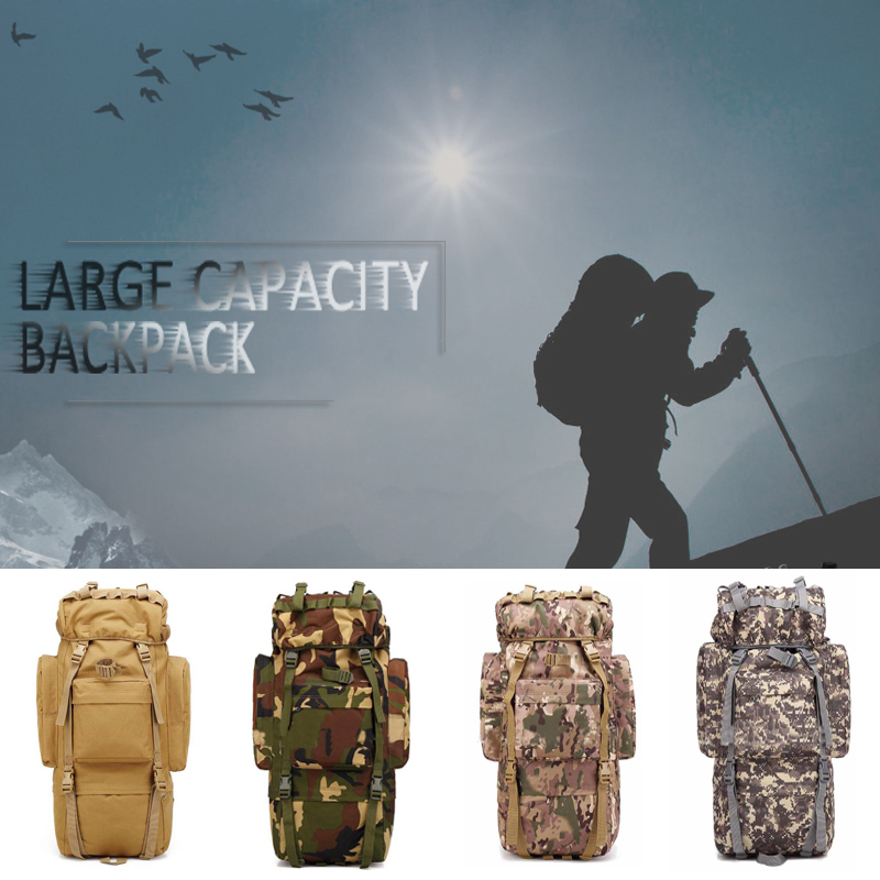 65L Large Capacity Outdoor Mountaineering Backpack Water repellent Camping Hiking Military Tactical Shoulder Bag in Climbing Bags from Sports Entertainment