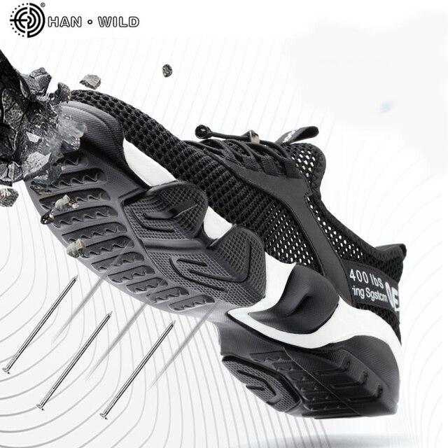 Summer Men Safety Shoes Men's Breathable Lightweight  Anti-smashing Piercing Work Sandals Single Mesh Steel Toe Sneakers Man