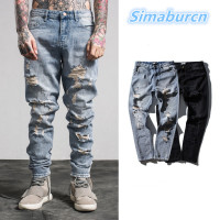 Fashion Men Holes Trendy Jeans European High Street Embroidery Jeans Man Hip Hop Ripped Straight Jeans Trousers Dropshipping