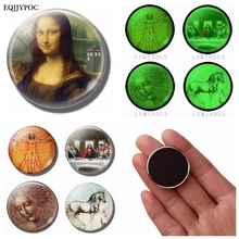 Leonardo Da Vinci Art Luminous Refrigerator Magnets Mona Lisa, The Last Supper Before Restoration, Female Head, Study of Horses