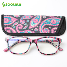 SOOLALA Printed Anti Blue Light Blocking Filter Glasses Women Eye Protection Computer Optical Frame Prescription