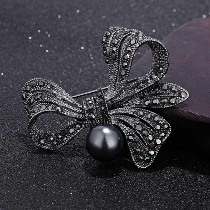 ヴィンテージ黒パールクリスタルラインストーンフラワーブローチロゼット女性のためのエレガントなウェディングジュエリーウェディングドレスヒジャーブ Jewelry2019