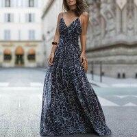 Dress Women Summer 2018 Sleeveless V Collar Backless Sexy Dress Holiday Ladies Sling Leopard Print Long Dress Vestido